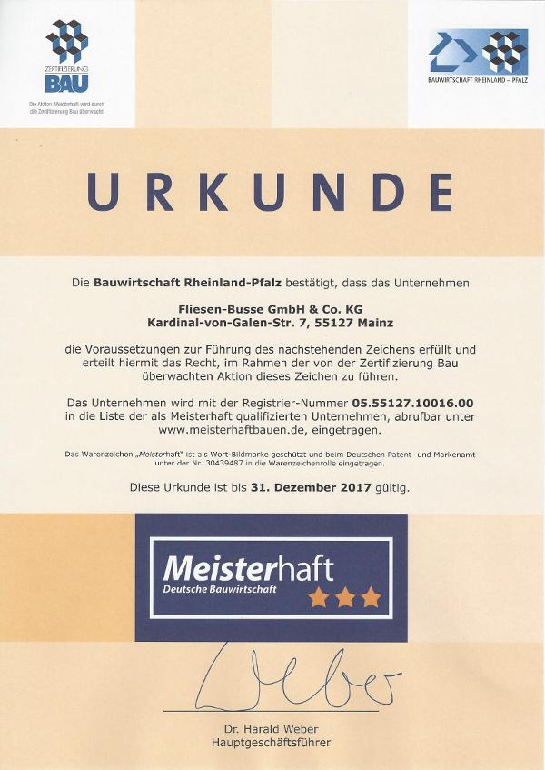 Deutsche Bauwirtschaft Urkunde